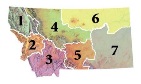Montana Fish Wildlife & Parks Regional Offices map