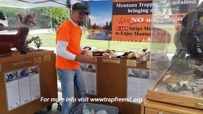 Photo of Jason Maxell and  Montana Trappers Association's use of crowd drawers publicly owned furbearer displays along with the FWP clearly nomenclature trailer, to oppose I-169