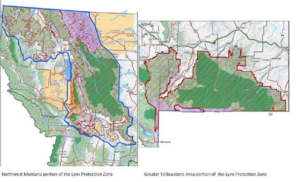 picture of map - showing proposed lynx protection zones.