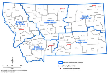 Map of Montana Commission Districts